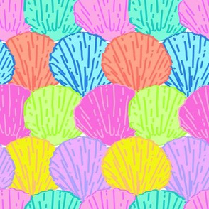 Scalloped Scallops Shells in Rainbow