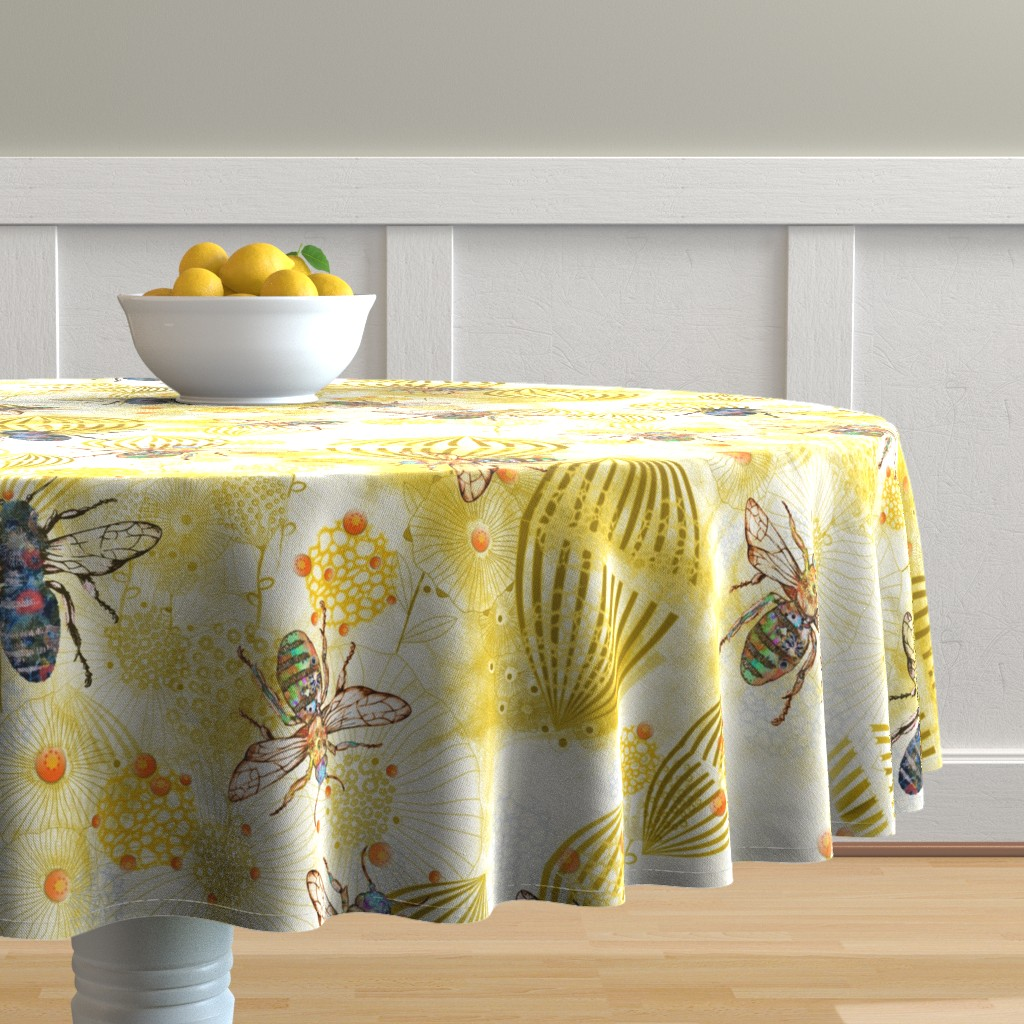Malay Round Tablecloth featuring POLLINATOR BEES  by mimipinto
