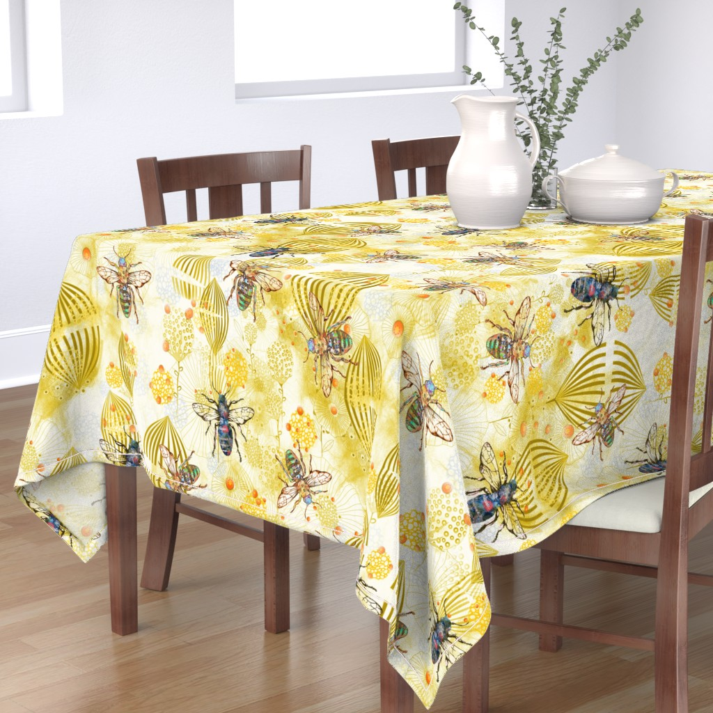 Bantam Rectangular Tablecloth featuring POLLINATOR BEES  by mimipinto
