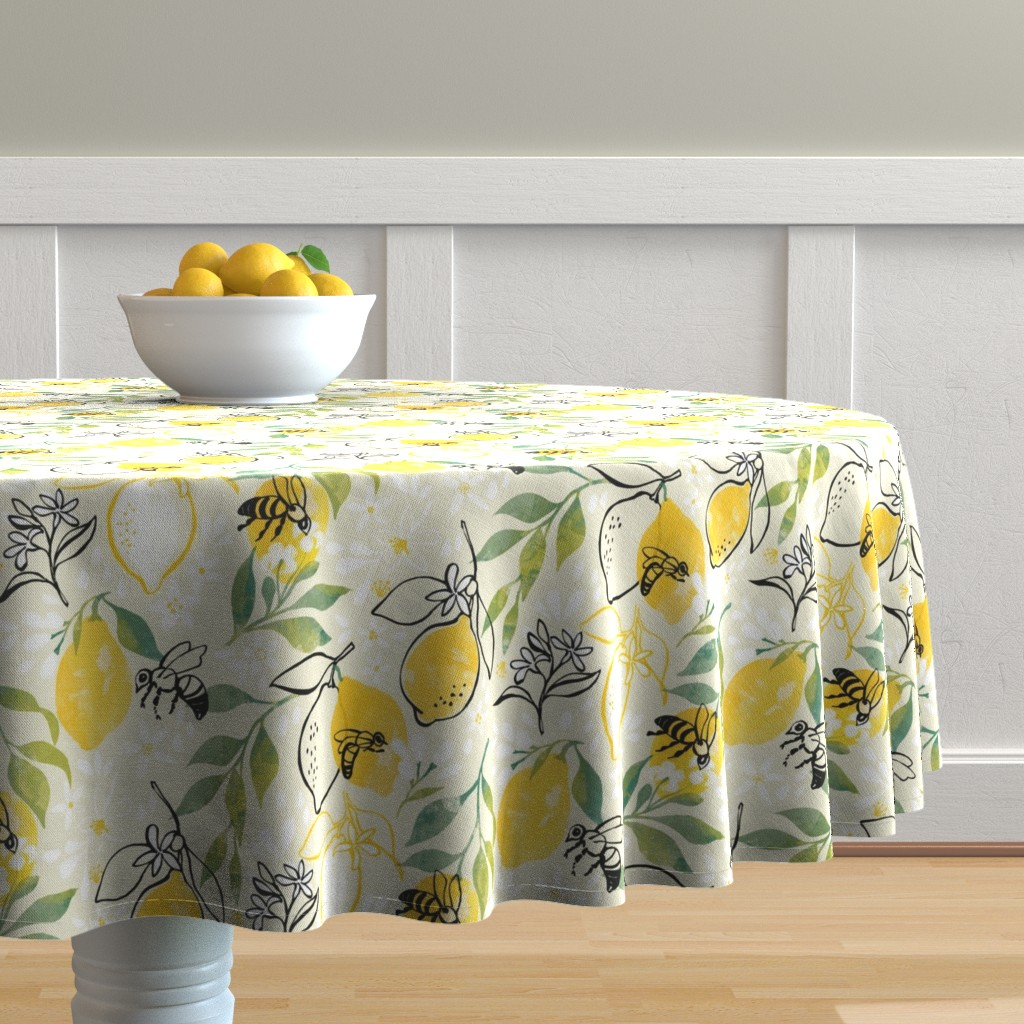 Malay Round Tablecloth featuring Just Bee by ohn_mar_win