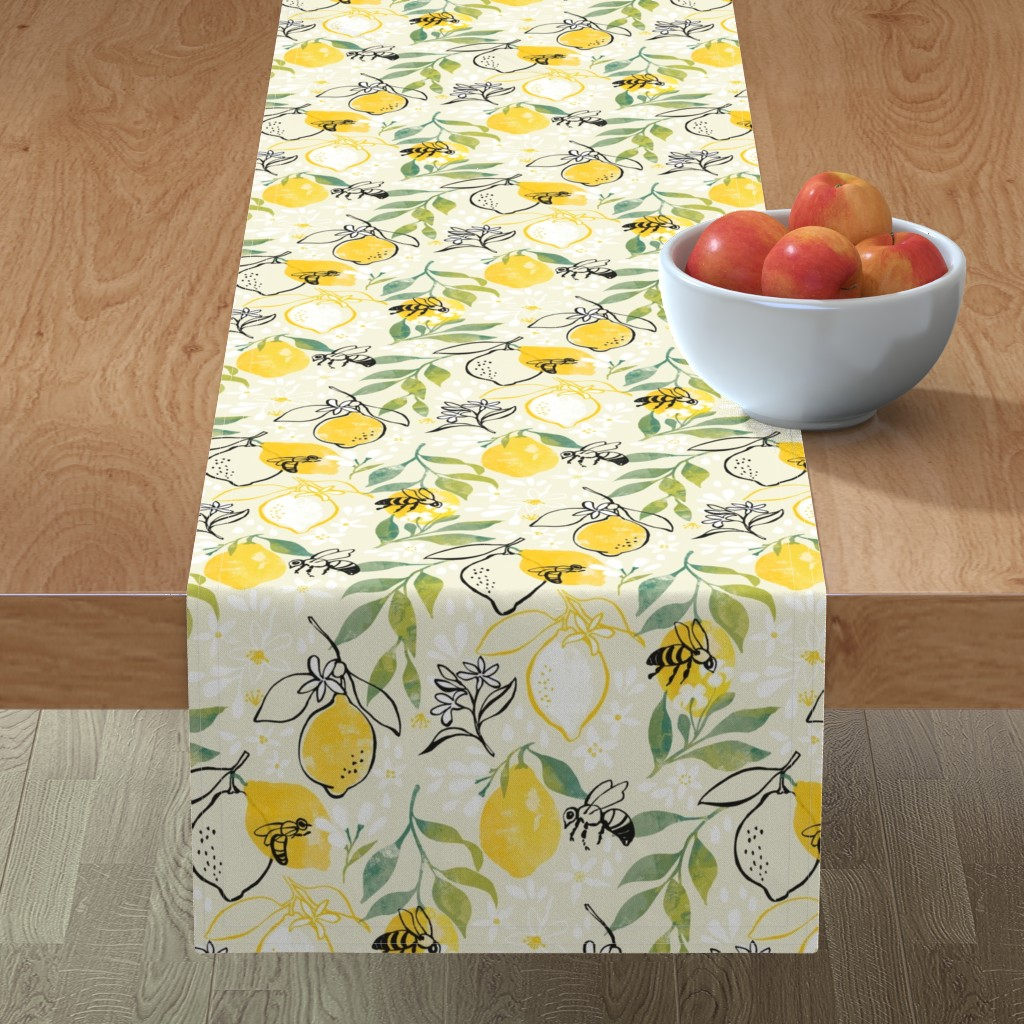 Minorca Table Runner featuring Just Bee by ohn_mar_win