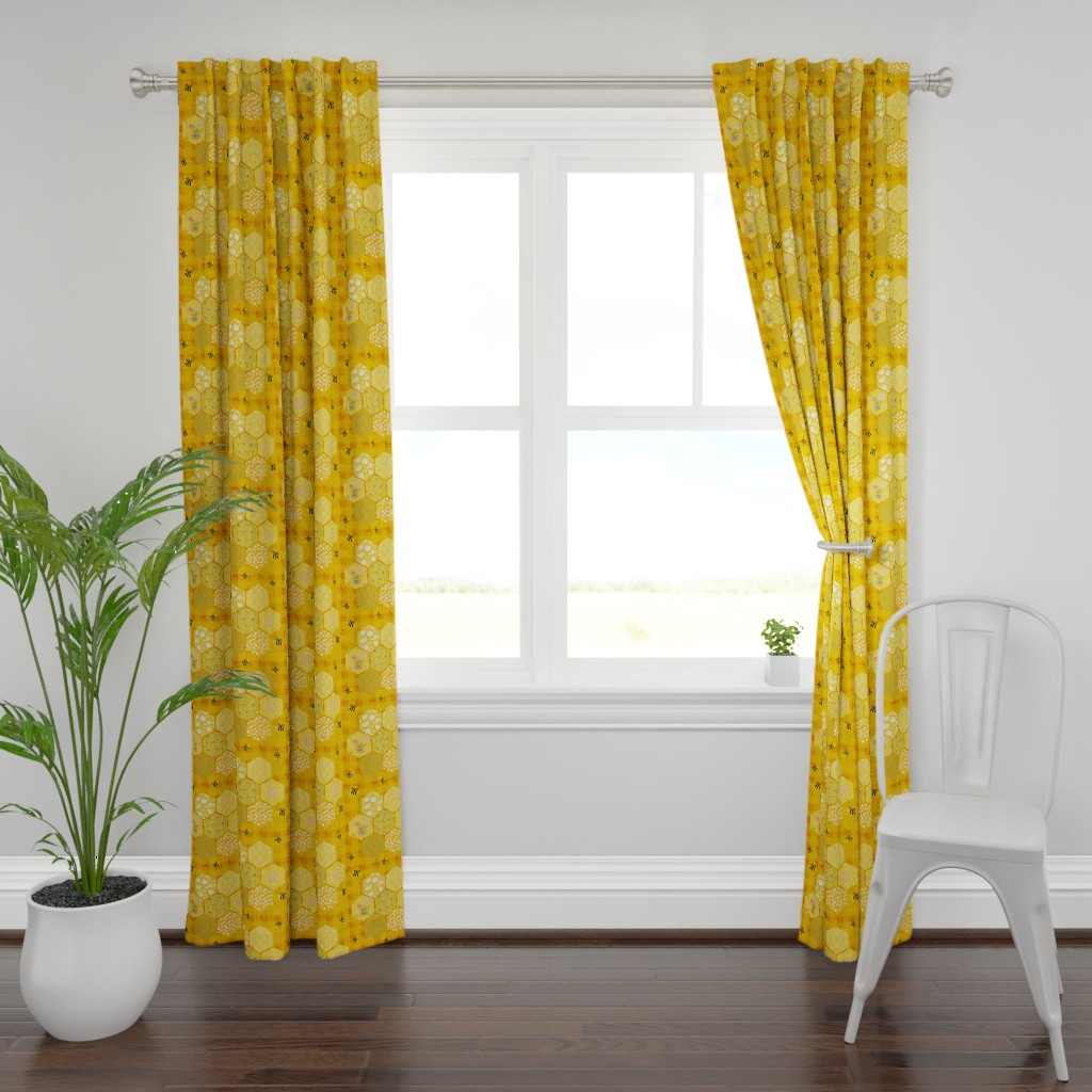 Plymouth Curtain Panel featuring Pollinator Picnic Quilt by teawithxanthe