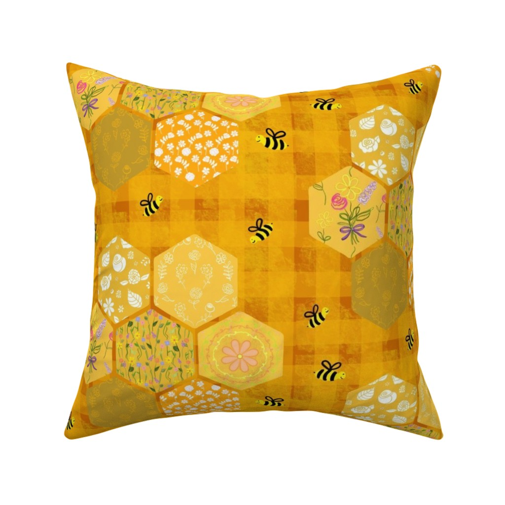 Catalan Throw Pillow featuring Pollinator Picnic Quilt by teawithxanthe