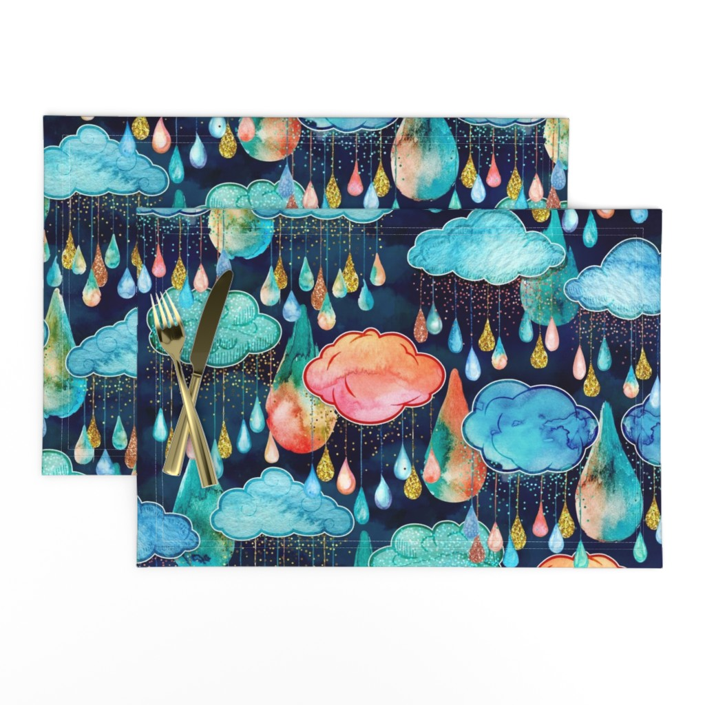Lamona Cloth Placemats featuring Glitter Rain Clouds by xoxotique