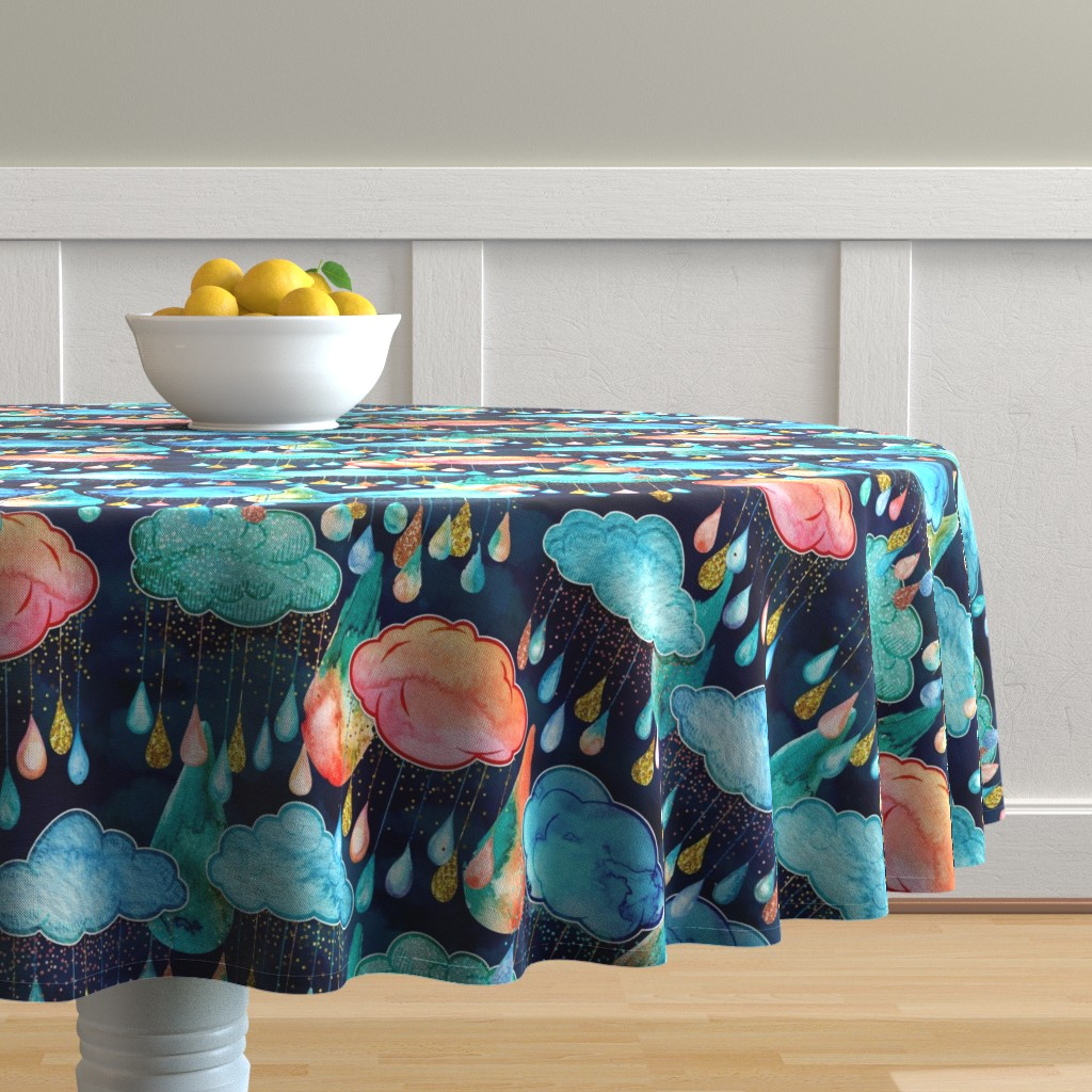 Malay Round Tablecloth featuring Glitter Rain Clouds by xoxotique