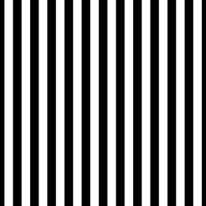 Black and White 3/4 inch Vertical Deck Chair Stripes