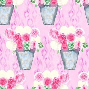19-07af Peony Floral Pink Watercolor