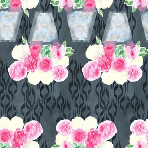 19-07ad Peony Floral Charcoal Gray