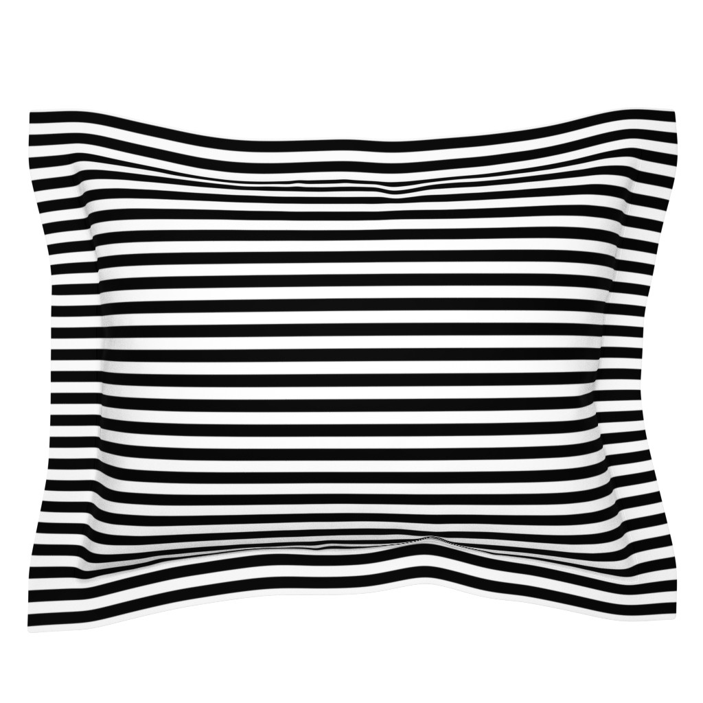 Sebright Pillow Sham featuring Black and White Thin Horizontal Half Inch Picnic Stripes by paper_and_frill