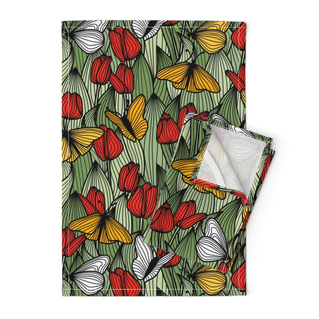 Orpington Tea Towels featuring Butterfly Garden by amy_maccready