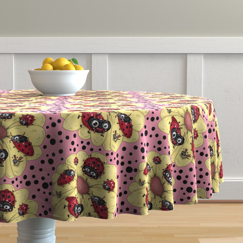Malay Round Tablecloth featuring some quirky ladybugs and a couple of cute bees, large scale, pink coral yellow red black white by amy_g