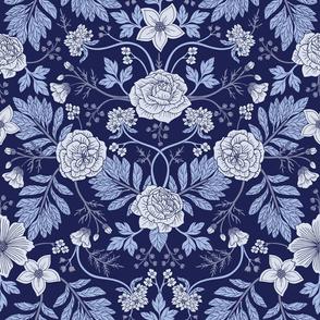Light Blue, Cobalt Blue, & White Floral Pattern