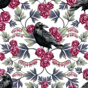 Crow, Bleeding Heart & Roses Floral/Botanical Pattern