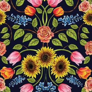 Dark Floral Print - Sunflowers, Tulips, Roses & Delphinium