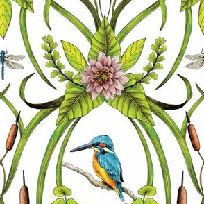Common Kingfisher, Water Lilies, Dragonflies & Cattails Pattern