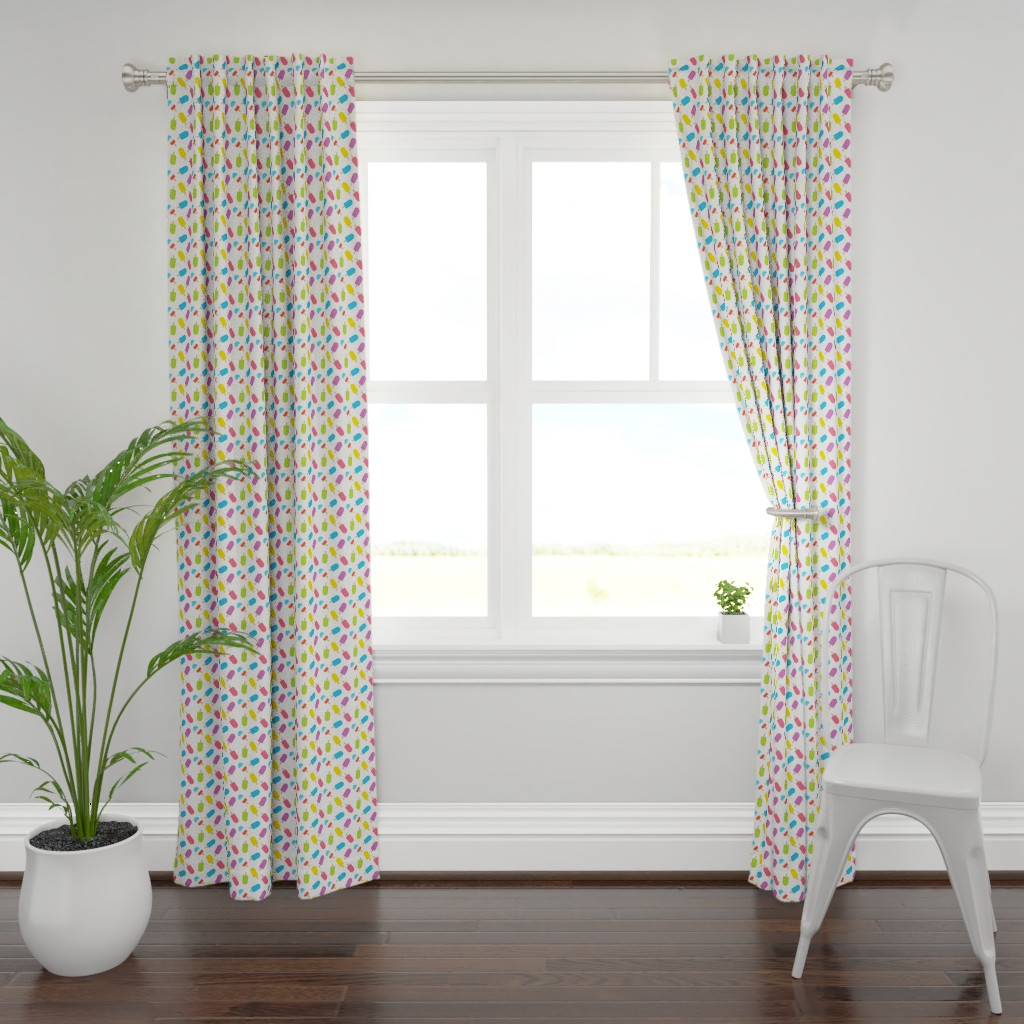 Plymouth Curtain Panel featuring Rainbow Popsicles by denisecolgan