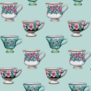 Tea Time - Pink & Turquoise Vintage Teacups With Floral Patterns
