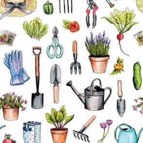 Garden Gear - Spring Gardening Pattern w/ Garden Tools & Supplies
