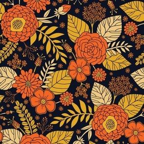 Retro Orange, Yellow, Brown, & Navy Floral Pattern