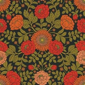 Green, Red & Orange Floral/Botanical Pattern