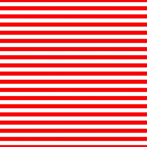 Red and White ½ inch Picnic Horizontal Stripes