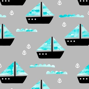 Watercolor sailing boat under water ocean life marine anchor boats blue gray