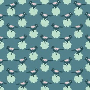 Daisy Flowers and Tiny Birds Seamless Pattern