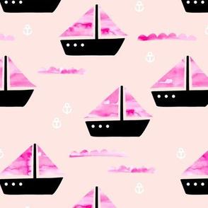 Watercolor sailing boat under water ocean life marine anchor boats pink peach girls