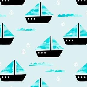 Watercolor sailing boat under water ocean life marine anchor boats blue boys