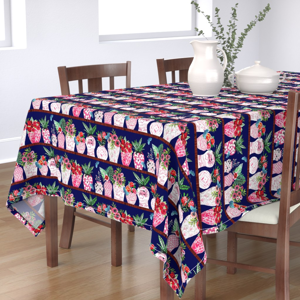 Bantam Rectangular Tablecloth featuring Pink Chinese ginger jars with palms and flowers by magentarosedesigns