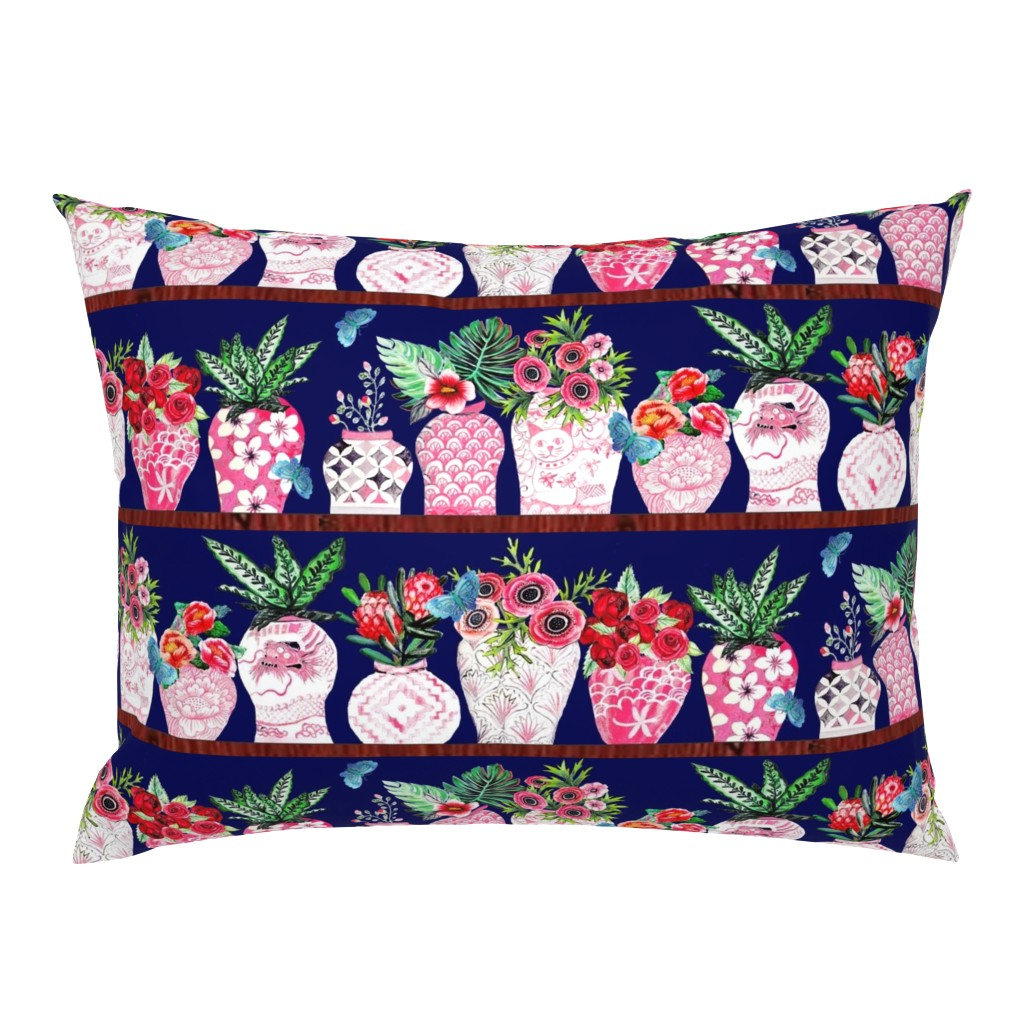 Campine Pillow Sham featuring Pink Chinese ginger jars with palms and flowers by magentarosedesigns