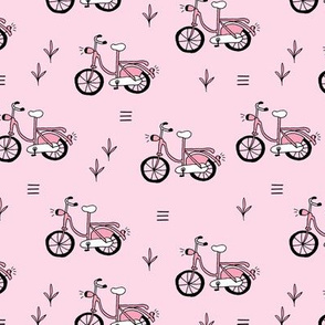 Little bicycle ride summer garden bike design pink