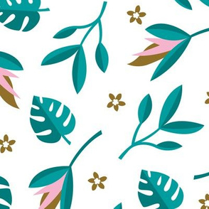 Lush summer jungle tropical rainforest leaves and birds of paradise flowers teal pink LARGE
