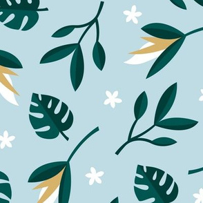 Lush summer jungle tropical rainforest leaves and birds of paradise flowers teal blue ochre green LARGE