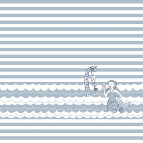 Mermaid and octopus arm on navy stripes background