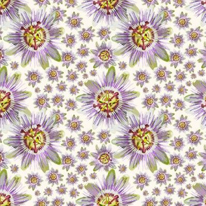 19-07aa Tropical Passion Fruit Floral Cream Off white