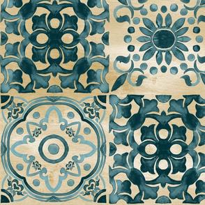 19-07z Teal Tan Boho Moroccan Tile