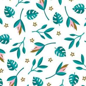 Lush summer jungle tropical rainforest leaves and birds of paradise flowers teal pink
