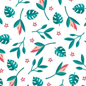 Lush summer jungle tropical rainforest leaves and birds of paradise flowers teal blue red