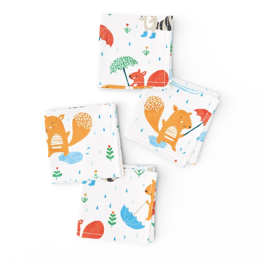 Frizzle Cocktail Napkins featuring Rainy day fun by tatiabaurre