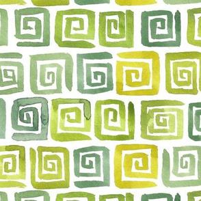 Watercolor Greek Key  - Yellow Green