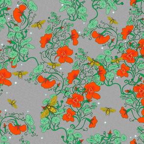 Bees in Nasturtiums Grey
