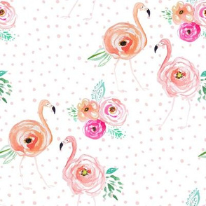 """8"""" Floral Flamingo Florals with Blush Pink Polka Dots"""