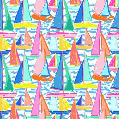 Painterly Sailboat Regatta in White