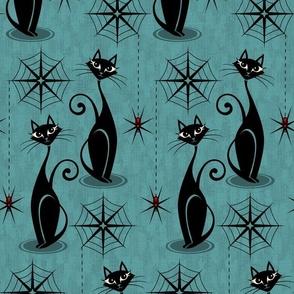 Retro Spooky Meow - Distressed Blue