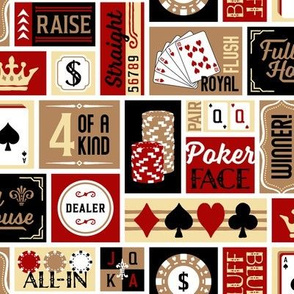 Patchwork Poker Phrases:  Dark Red & Gold