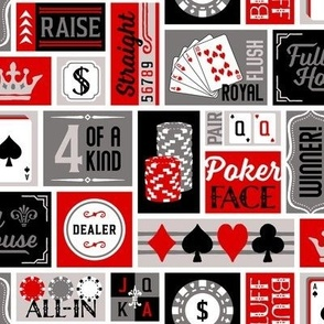 Patchwork Poker Phrases: Red and Gray