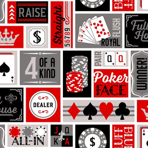 XL Blanket Size Patchwork Poker Phrases: Red and Gray