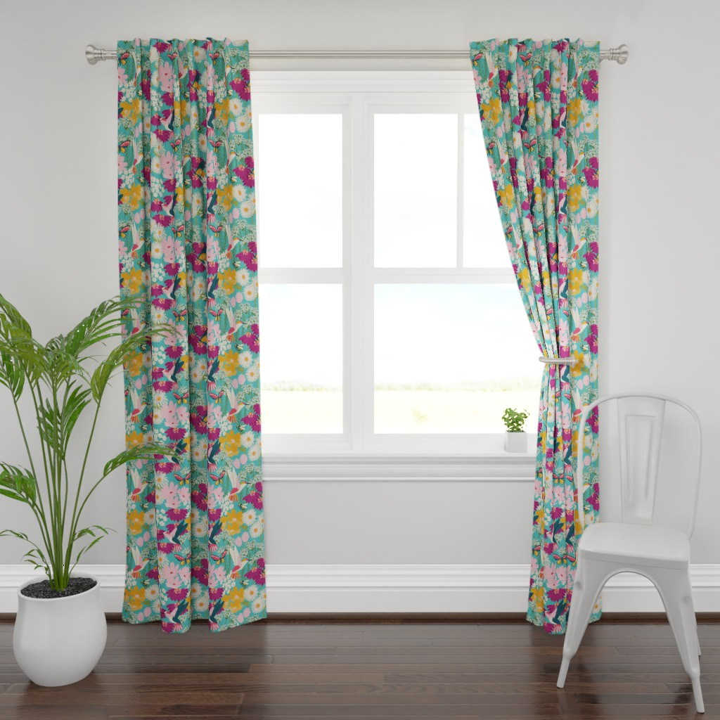 Plymouth Curtain Panel featuring Pollinator Garden-Medium Scale by jenflorentine