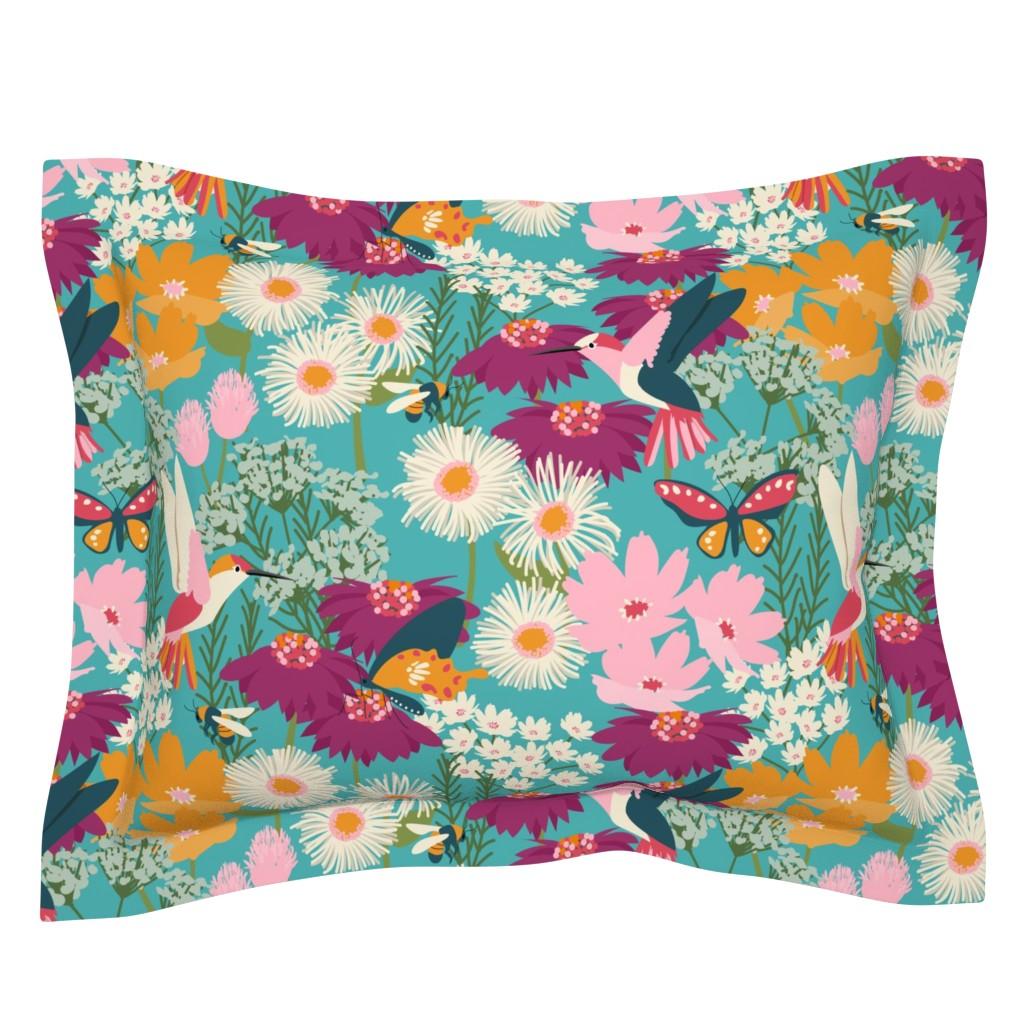 Sebright Pillow Sham featuring Pollinator Garden-Medium Scale by jenflorentine